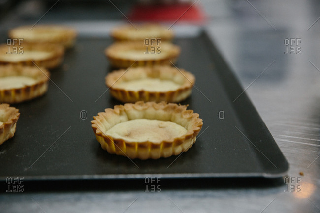 Tray of freshly baked pastry shells