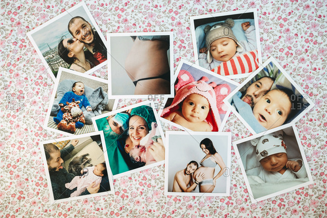 Collage of family pictures on a flowered background