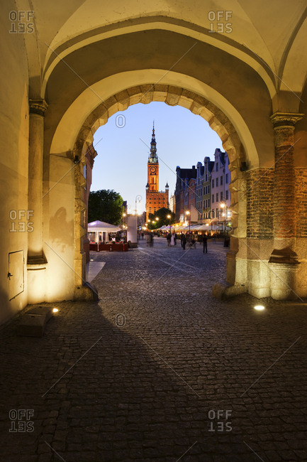 Poland - Gdansk - view through Green Gate to Long Market at evening twilight