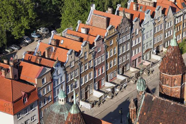 Poland - Gdansk - row of historic town houses at the old town seen from above