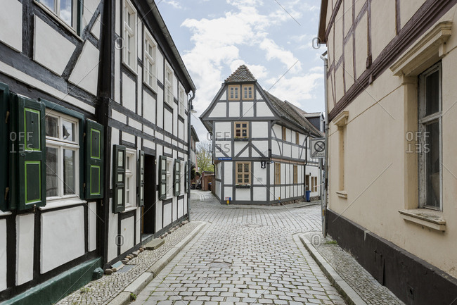 Germany - Saxony - Anhalt - Tangermuende - timber - framed houses in the old town