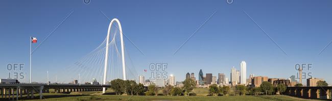 USA, Texas, Dallas - October 20, 2016: Panorama of Margaret Hunt Hill Bridge - railway bridge and skyline