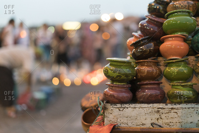 Morocco - assortment of ceramics on a market