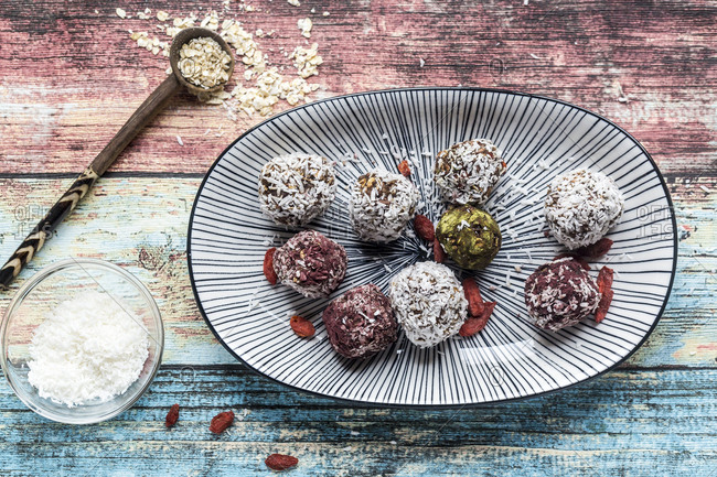 Various Bliss Balls on platter