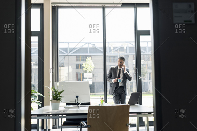 Businessman with cup of coffee on the phone in his office