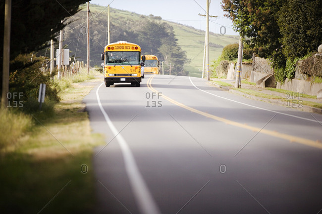 School buses on a rural road
