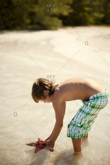 Boy bending over to pick up a starfish
