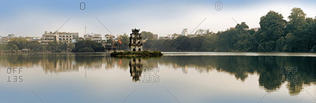 Temple reflected in a lake