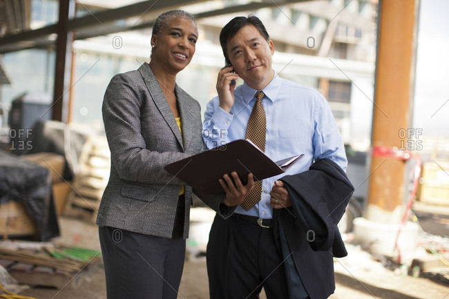 Businesspeople at a construction site