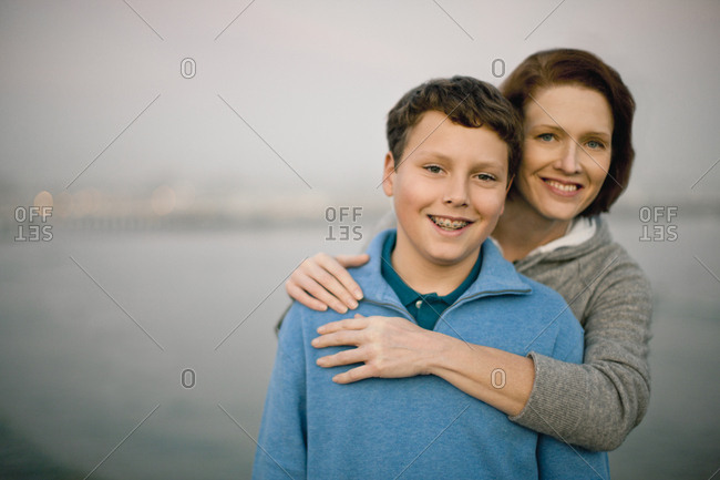 Portrait of a teenage boy and his mother