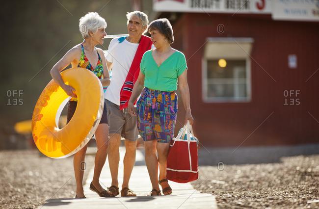 Senior friends at a beach