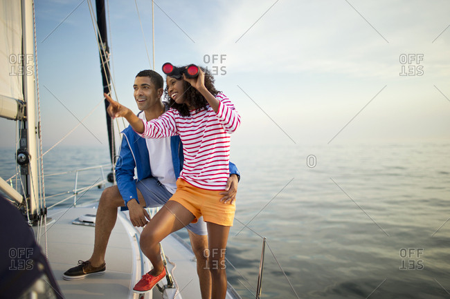 Smiling couple on a yacht