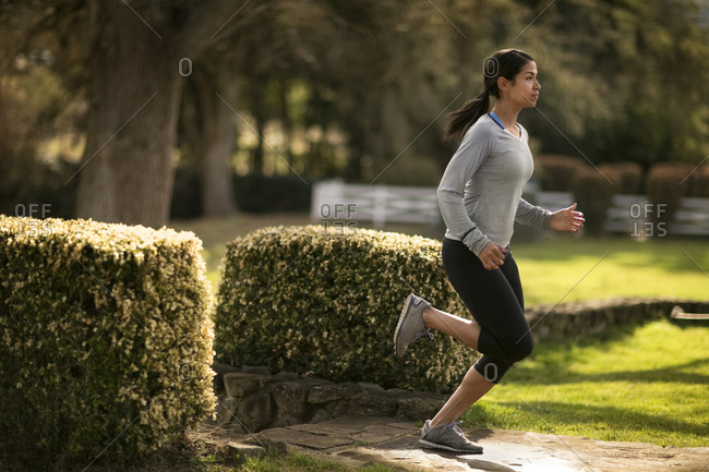 A young woman running