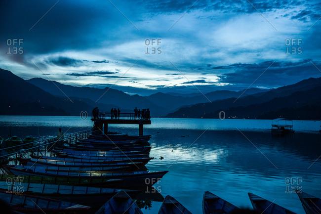 Blue hour at Phewa Lake in Pokhara, Nepal.