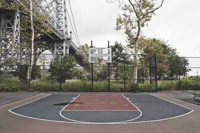 New York, United States of America - September 16, 2014. An empty basketball court in New York City.