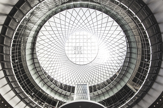"""New York, United States of America - May 30, 2015. The beautiful glass roof, the """"Sky Reflector-Net"""", of the Fulton Building at the Lower Manhattan in New York City."""