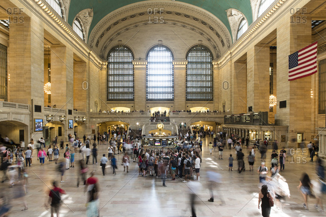 New York, United States of America - August 24, 2016. The Grand Central Terminal, also known as the Grand Central Station, in New York has remained the busiest train station in the United States.