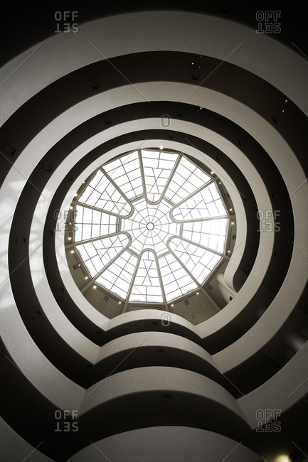 New York, United States of America - June 4, 2009. The atrium of the famous Guggenheim Museum in the 5th Avenue in New York City.