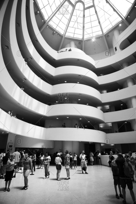 New York, United States of America - July 10, 2007. The atrium of the famous Guggenheim Museum in the 5th Avenue in New York City.