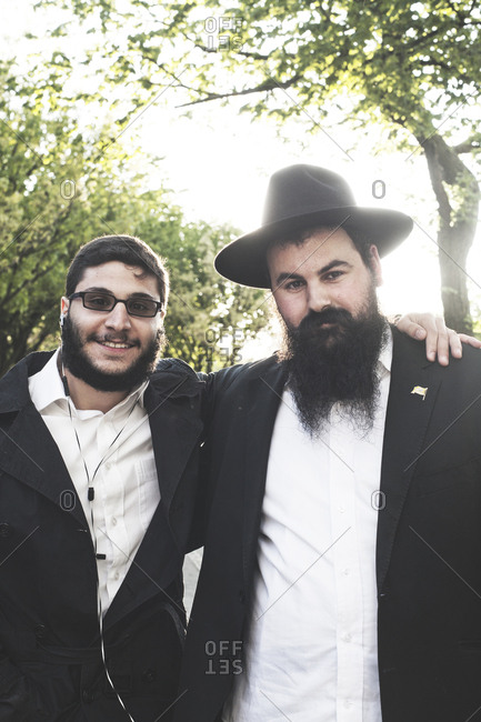 New York, United States of America - May 14, 2013. Two Jewish Men portrayed in New York City.