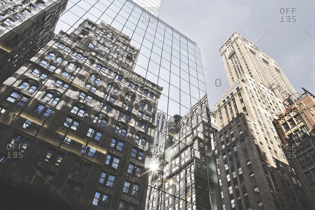 New York, United States of America - September 18, 2014. Skyscrapers facades and high-rise in New York City.