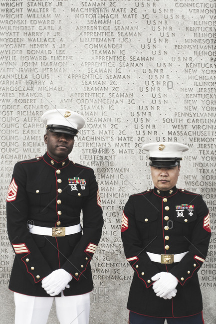 New York, United States of America - May 11, 2013. Soldiers at the World War II Naval Memorial in Battery Park in New York City.