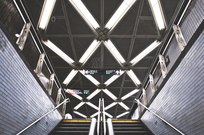 New York, United States of America - September 17, 2014. Beautiful light patterns at a subway station in New York City.