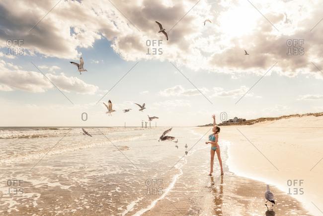 Girl feeding seagulls on a beach on Topsail Island in North Carolina