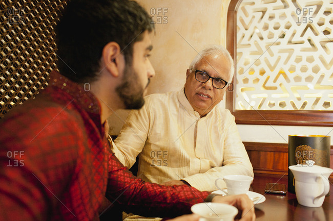 Father with son at restaurant