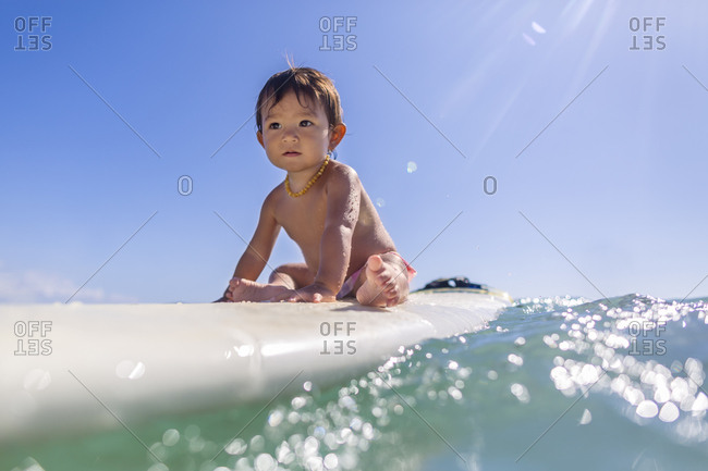 Baby girl sitting on a surfboard riding a wave in the ocean in Maui Hawaii