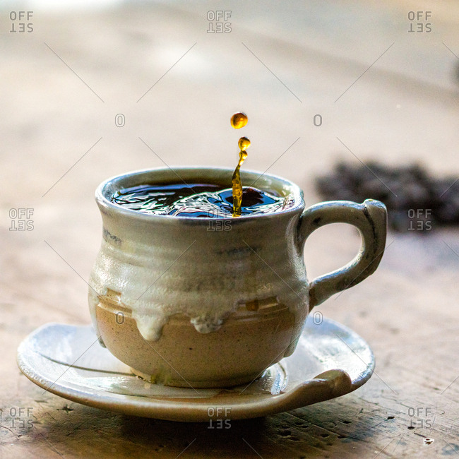 Coffee in mug with splash