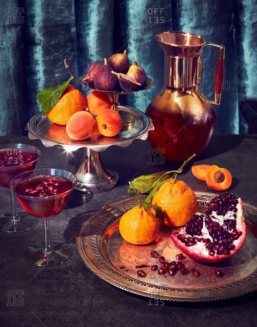 Variety of fruit and pomegranate cocktails