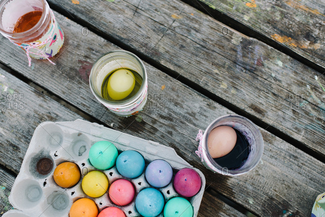 Overhead view of colorful Easter eggs