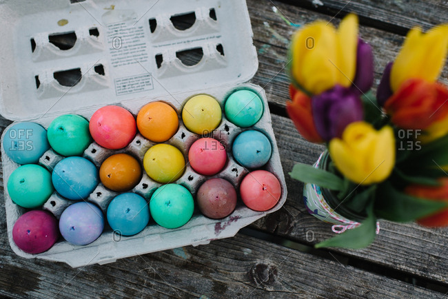 Carton on colorful Easter eggs