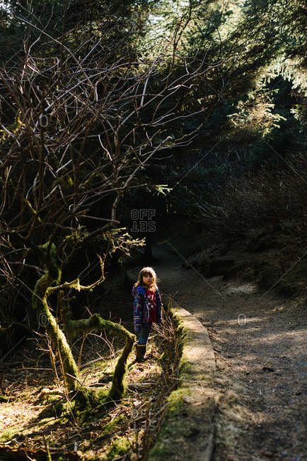 Child standing on edge of trail in woods