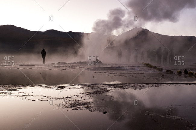 People at El Tatio Geyser early in the morning