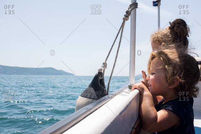 Children having fun on a boat
