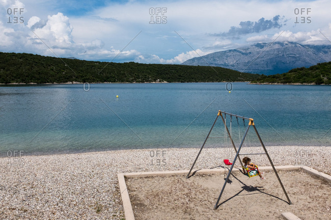 A swing with a view on the island of Brac, Croatia