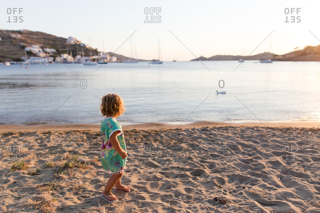 Young girl on the beach in the evening - Kea, Greece