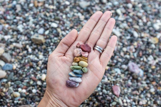 The rainbow of rocks on the beach on Milos, Greece