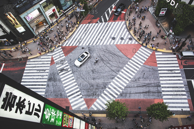 Tokyo, Japan - May 21, 2016: Crowds of people in the Shibuya district in Tokyo.