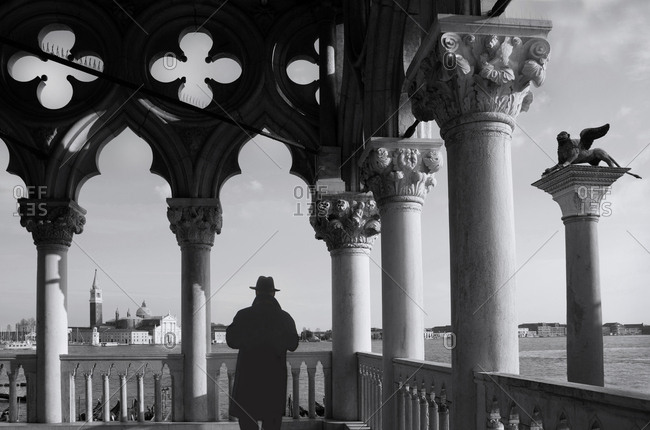 Man at Doge's Palace in Venice, Italy