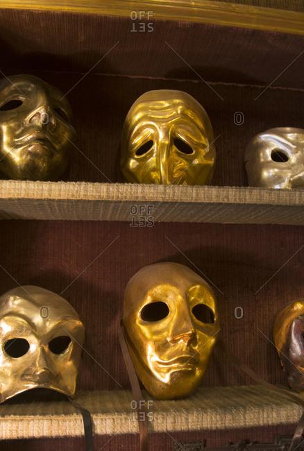 Gilded carnival masks in Venice, Italy