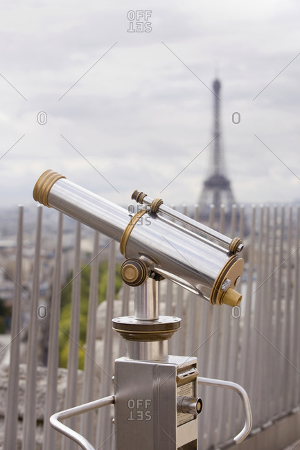 Telescope with Eiffel Tower in background