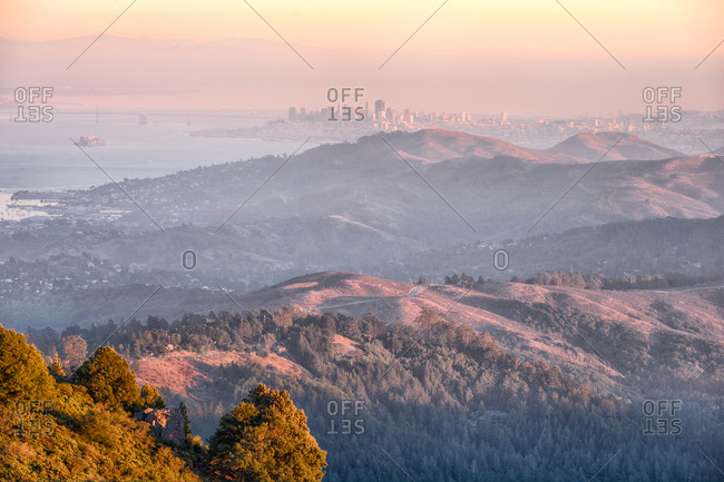 View of San Francisco over hills