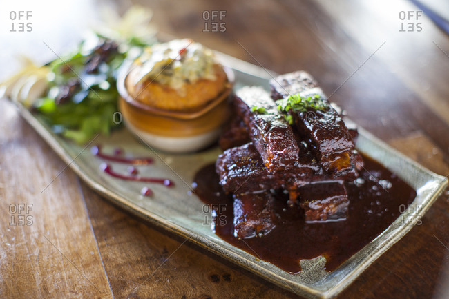 Stack of ribs in sauce