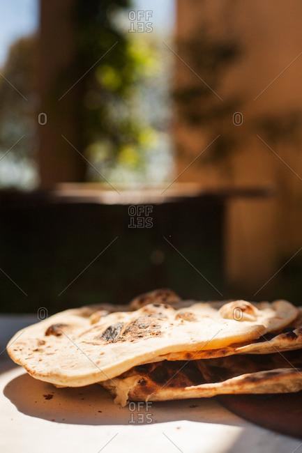 Freshly baked naan