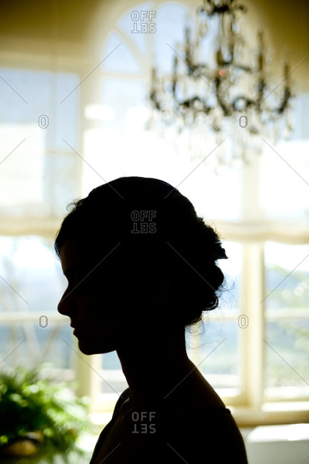 Silhouette profile of a woman at a wedding
