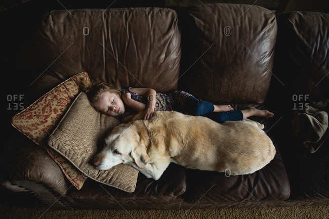 Girl asleep on couch with dog