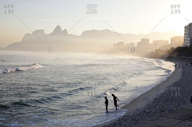 People on beach in Rio de Janeiro
